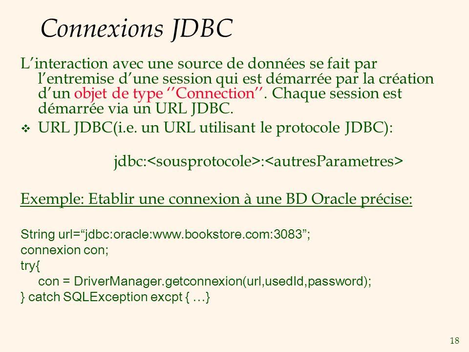 18 Connexions JDBC Linteraction avec une source de données se fait par lentremise dune session qui est démarrée par la création dun objet de type Connection.