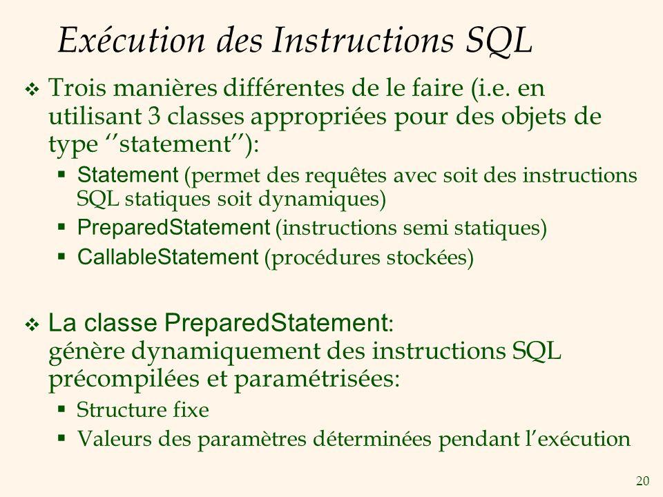 20 Exécution des Instructions SQL Trois manières différentes de le faire (i.e.