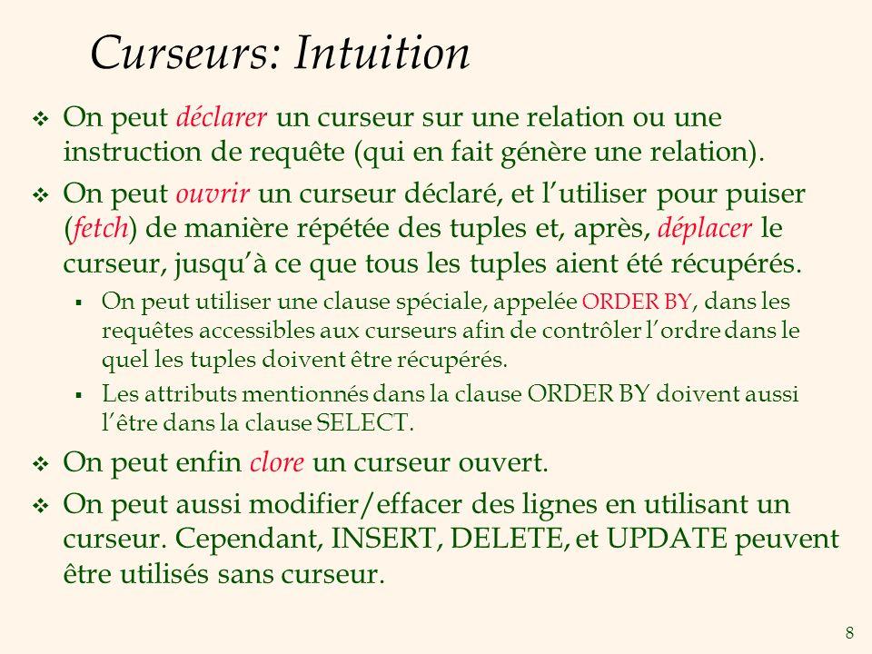 8 Curseurs: Intuition On peut déclarer un curseur sur une relation ou une instruction de requête (qui en fait génère une relation).