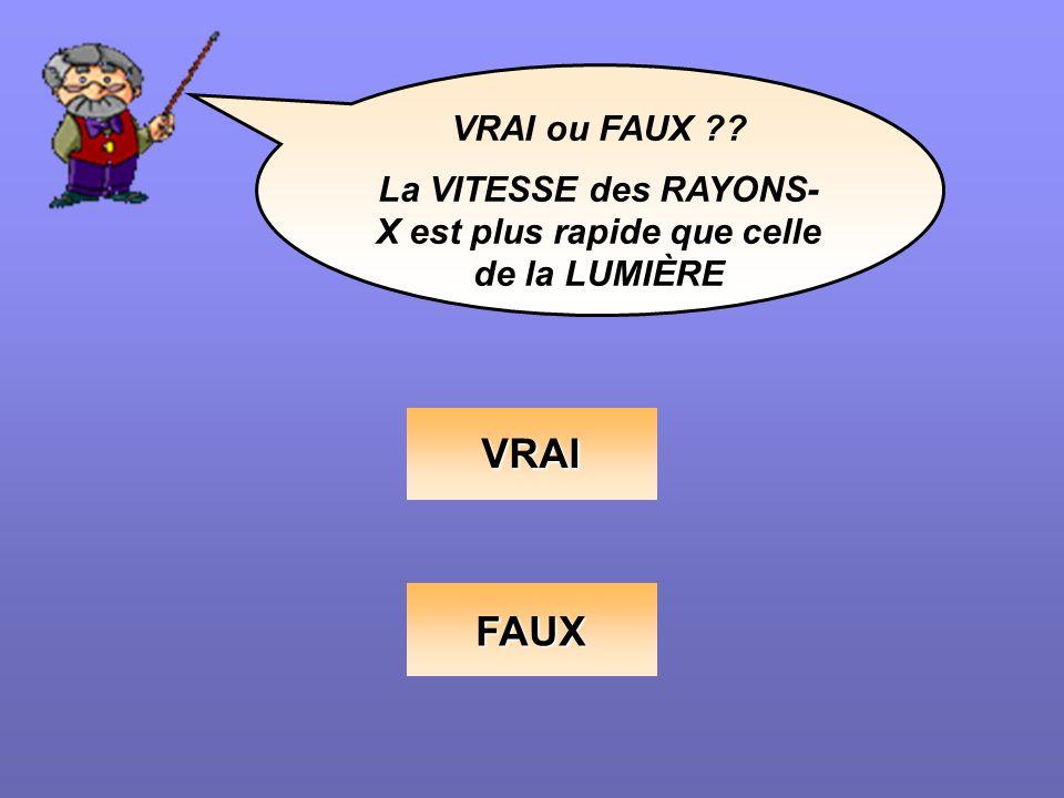 VRAI ou FAUX ?? La VITESSE des RAYONS- X est plus rapide que celle de la LUMIÈRE VRAI FAUX