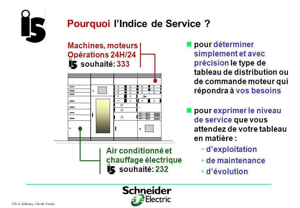 DTB - S. Goldenberg - Mars 99 - Français 2 Pourquoi lIndice de Service ? pour déterminer simplement et avec précision le type de tableau de distributi