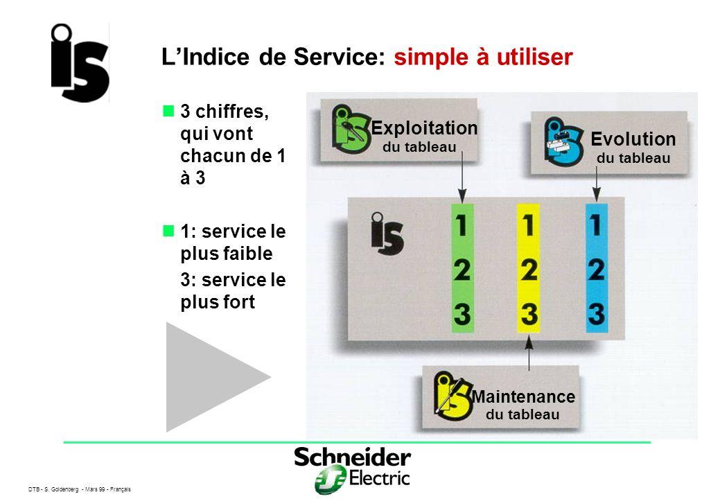 DTB - S. Goldenberg - Mars 99 - Français 4 LIndice de Service: simple à utiliser 3 chiffres, qui vont chacun de 1 à 3 1: service le plus faible 3: ser