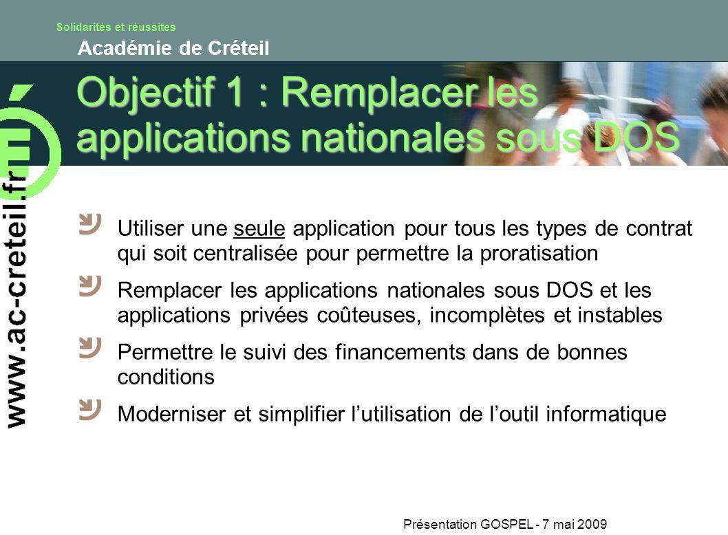 Solidarités et réussites Académie de Créteil Présentation GOSPEL - 7 mai 2009 Objectif 1 : Remplacer les applications nationales sous DOS Utiliser une