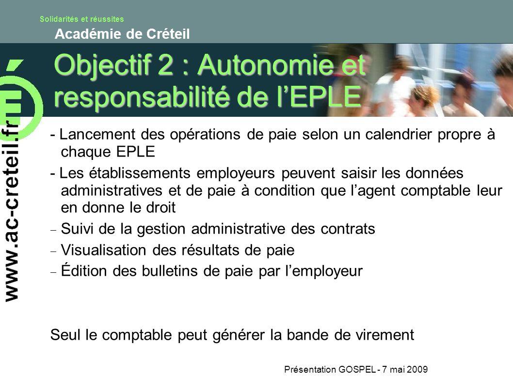 Solidarités et réussites Académie de Créteil Présentation GOSPEL - 7 mai 2009 Objectif 2 : Autonomie et responsabilité de lEPLE - Lancement des opérat