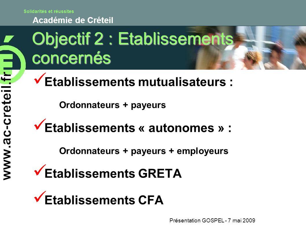 Solidarités et réussites Académie de Créteil Présentation GOSPEL - 7 mai 2009 Objectif 2 : Etablissements concernés Etablissements mutualisateurs : Or