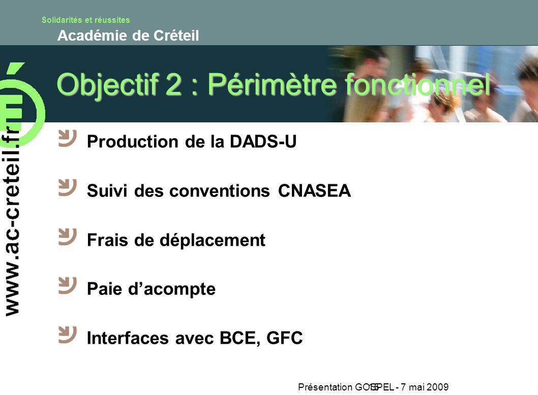 Solidarités et réussites Académie de Créteil Présentation GOSPEL - 7 mai 200915 Objectif 2 : Périmètre fonctionnel Production de la DADS-U Suivi des c