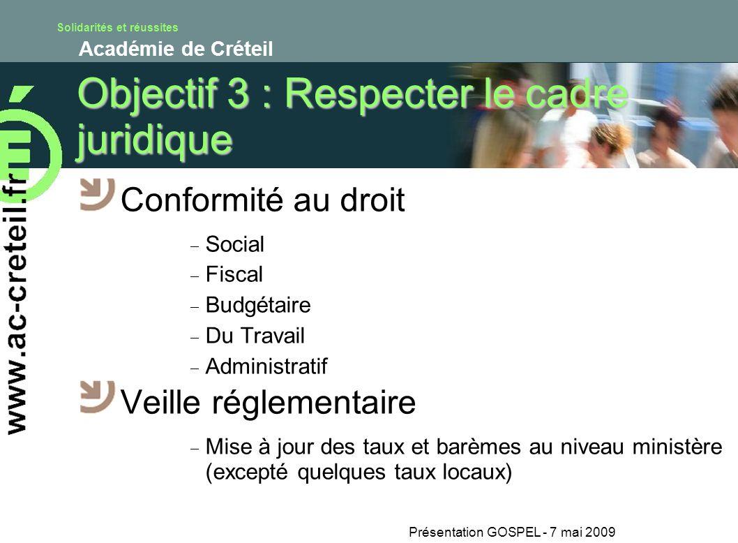 Solidarités et réussites Académie de Créteil Présentation GOSPEL - 7 mai 2009 Objectif 3 : Respecter le cadre juridique Conformité au droit Social Fis