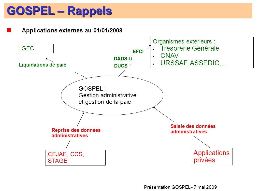Présentation GOSPEL - 7 mai 2009 Applications externes au 01/01/2008 GOSPEL – Rappels CEJAE, CCS, STAGE GFC Organismes extérieurs : Trésorerie Général
