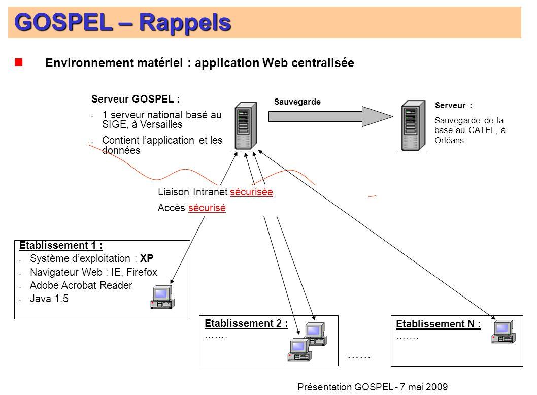 Présentation GOSPEL - 7 mai 2009 Environnement matériel : application Web centralisée Etablissement 1 : Système dexploitation : XP Navigateur Web : IE