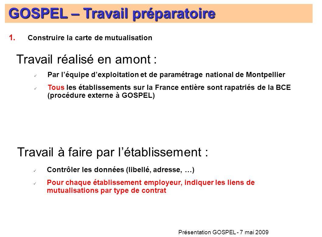 Présentation GOSPEL - 7 mai 2009 GOSPEL – Travail préparatoire Travail réalisé en amont : Travail à faire par létablissement : Par léquipe dexploitati