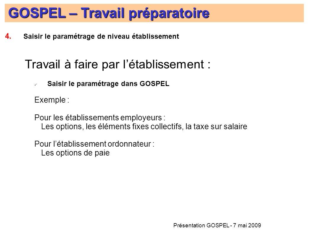 Présentation GOSPEL - 7 mai 2009 GOSPEL – Travail préparatoire 4. Saisir le paramétrage de niveau établissement Travail à faire par létablissement : S