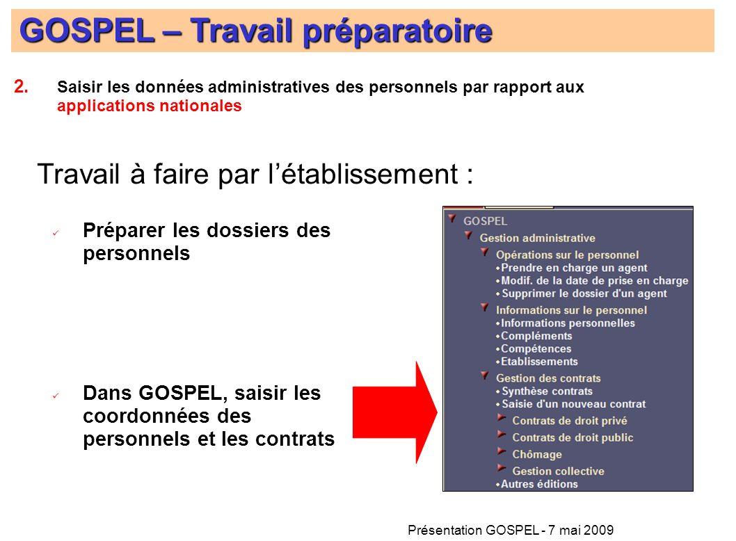 Présentation GOSPEL - 7 mai 2009 Préparer les dossiers des personnels Dans GOSPEL, saisir les coordonnées des personnels et les contrats GOSPEL – Trav