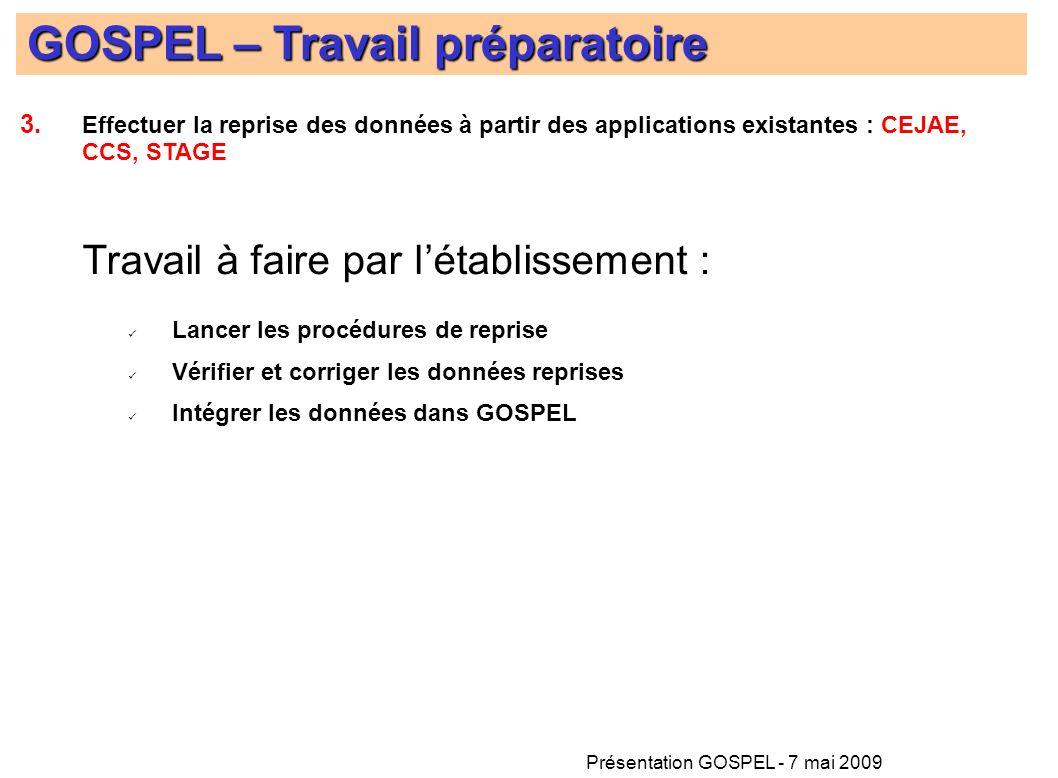 Présentation GOSPEL - 7 mai 2009 GOSPEL – Travail préparatoire Travail à faire par létablissement : Lancer les procédures de reprise Vérifier et corri
