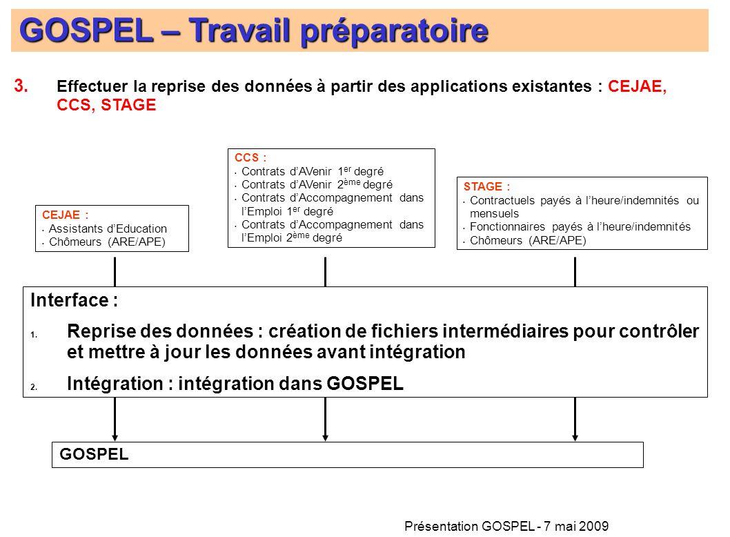Présentation GOSPEL - 7 mai 2009 GOSPEL – Travail préparatoire GOSPEL STAGE : Contractuels payés à lheure/indemnités ou mensuels Fonctionnaires payés