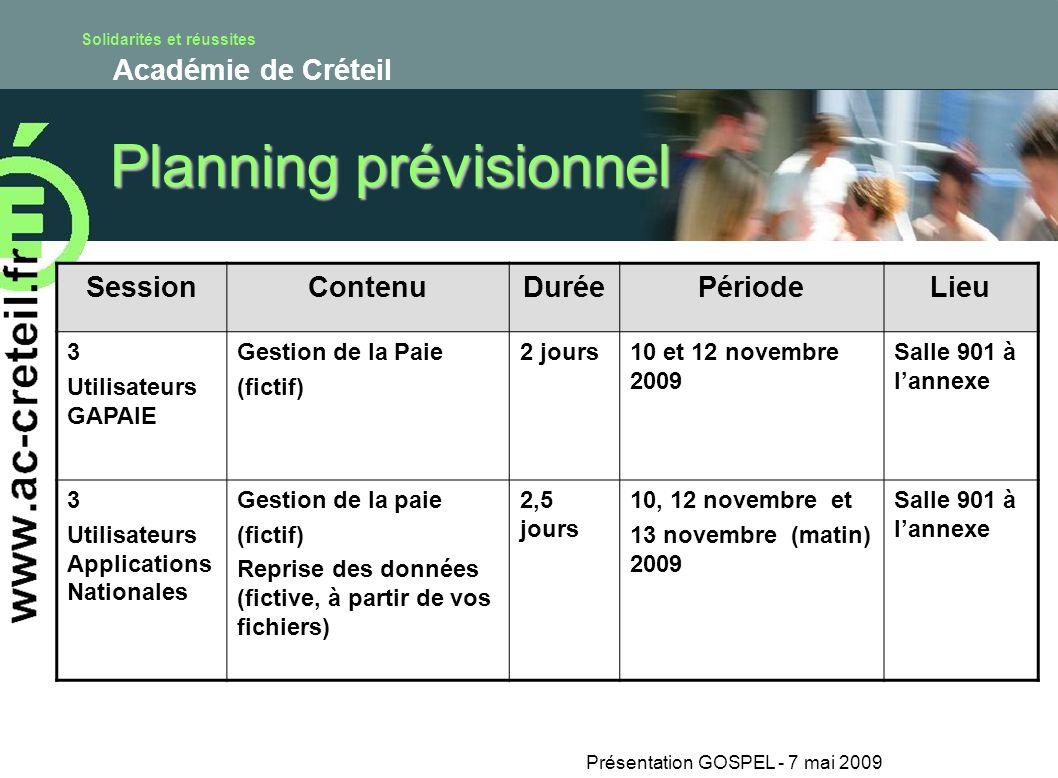Solidarités et réussites Académie de Créteil Présentation GOSPEL - 7 mai 2009 Planning prévisionnel SessionContenuDuréePériodeLieu 3 Utilisateurs GAPA