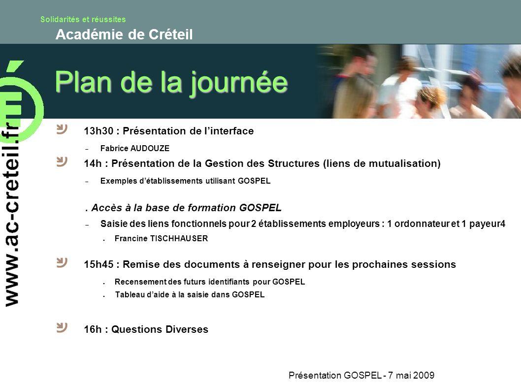 Solidarités et réussites Académie de Créteil Plan de la journée 13h30 : Présentation de linterface Fabrice AUDOUZE 14h : Présentation de la Gestion de