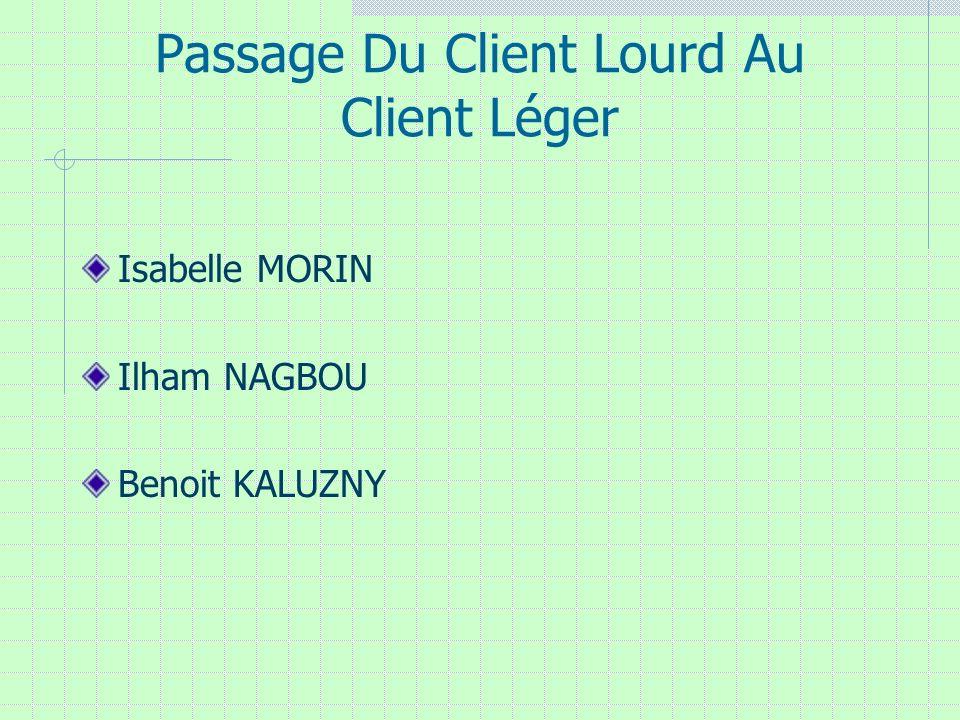 Passage Du Client Lourd Au Client Léger Isabelle MORIN Ilham NAGBOU Benoit KALUZNY