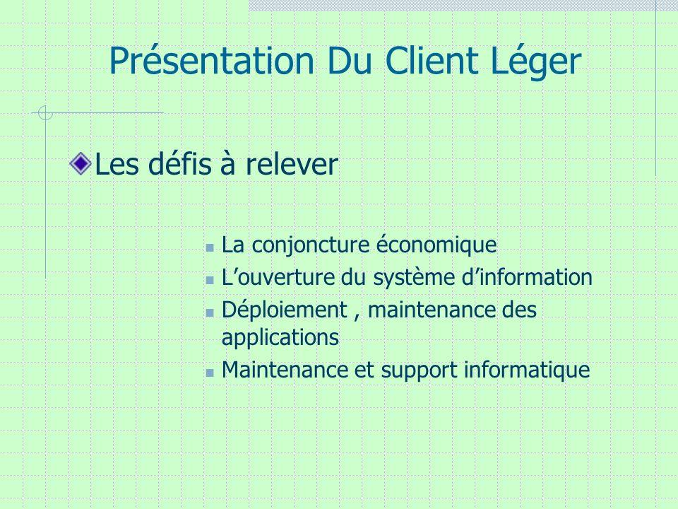 Présentation Du Client Léger Les défis à relever La conjoncture économique Louverture du système dinformation Déploiement, maintenance des application