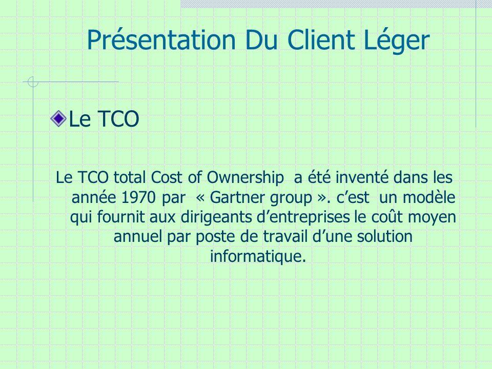 Présentation Du Client Léger Le TCO Le TCO total Cost of Ownership a été inventé dans les année 1970 par « Gartner group ». cest un modèle qui fournit