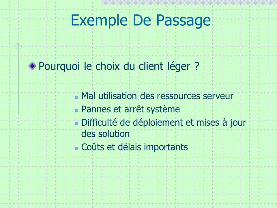 Exemple De Passage Pourquoi le choix du client léger ? Mal utilisation des ressources serveur Pannes et arrêt système Difficulté de déploiement et mis