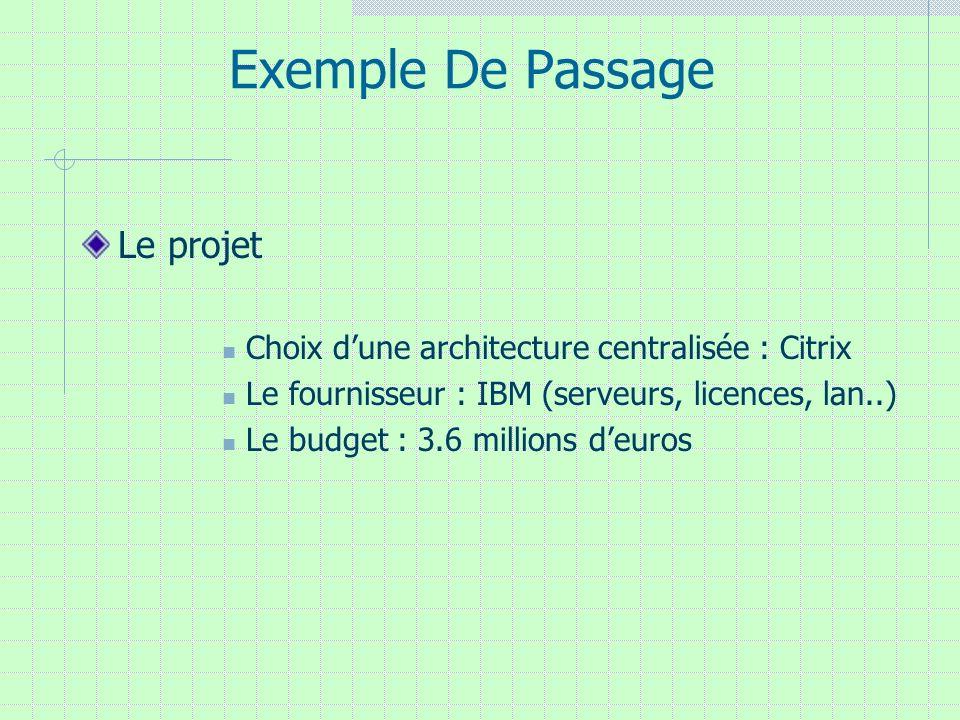 Exemple De Passage Le projet Choix dune architecture centralisée : Citrix Le fournisseur : IBM (serveurs, licences, lan..) Le budget : 3.6 millions de