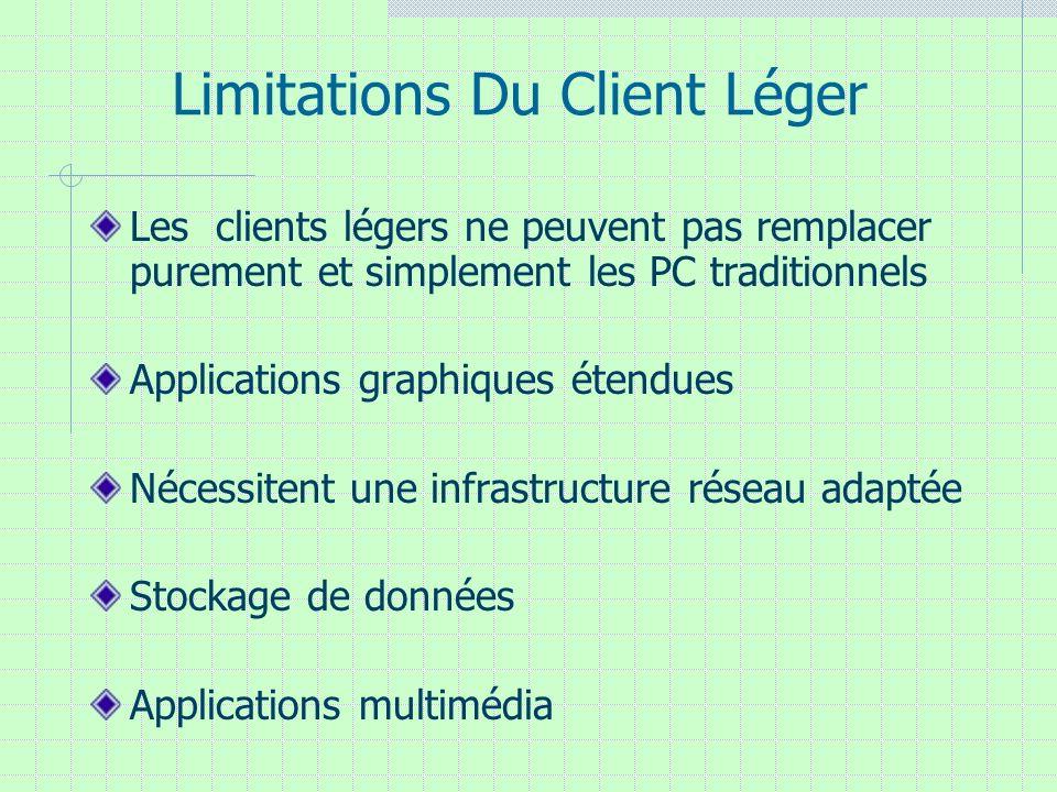 Limitations Du Client Léger Les clients légers ne peuvent pas remplacer purement et simplement les PC traditionnels Applications graphiques étendues N