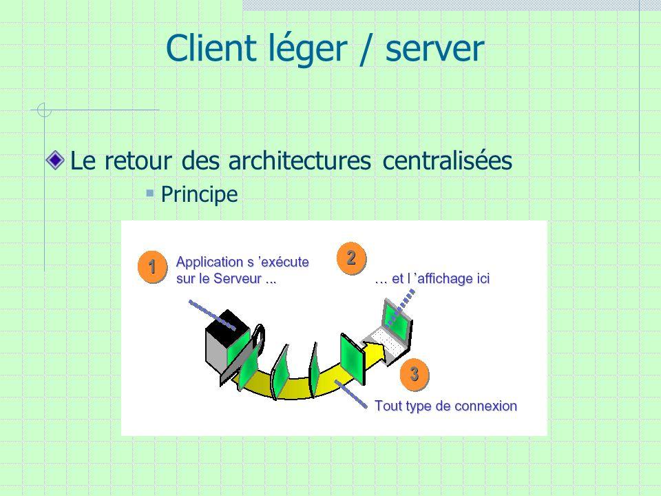 Client léger / server Le retour des architectures centralisées Principe
