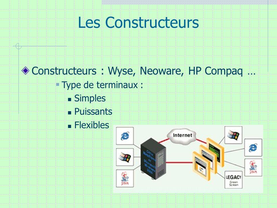 Les Constructeurs Constructeurs : Wyse, Neoware, HP Compaq … Type de terminaux : Simples Puissants Flexibles