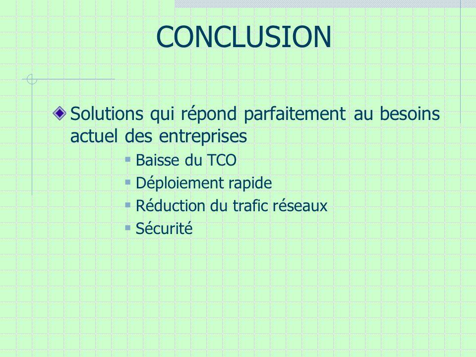 CONCLUSION Solutions qui répond parfaitement au besoins actuel des entreprises Baisse du TCO Déploiement rapide Réduction du trafic réseaux Sécurité