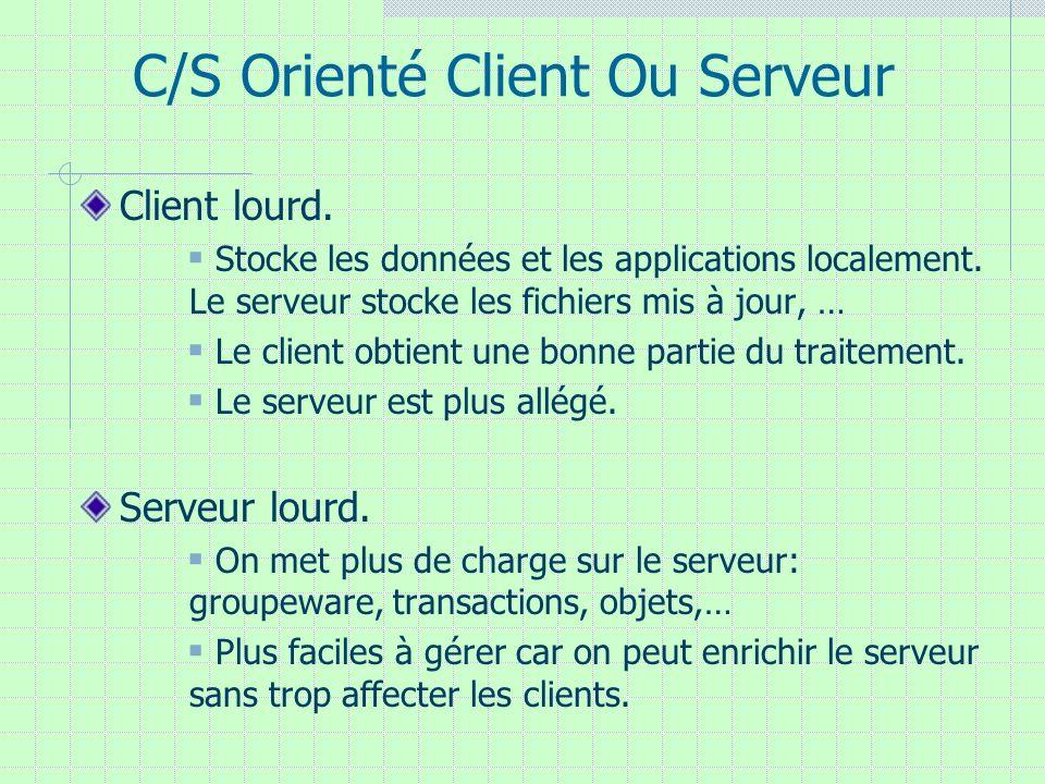 C/S Orienté Client Ou Serveur Client lourd. Stocke les données et les applications localement. Le serveur stocke les fichiers mis à jour, … Le client