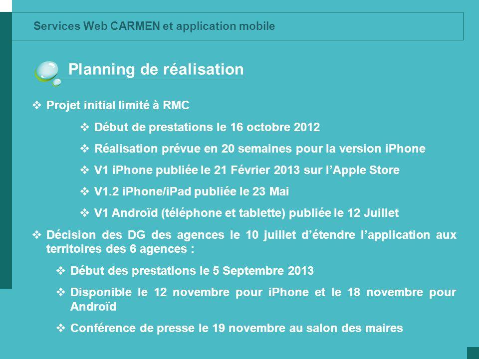 Services Web CARMEN et application mobile Planning de réalisation Projet initial limité à RMC Début de prestations le 16 octobre 2012 Réalisation prév