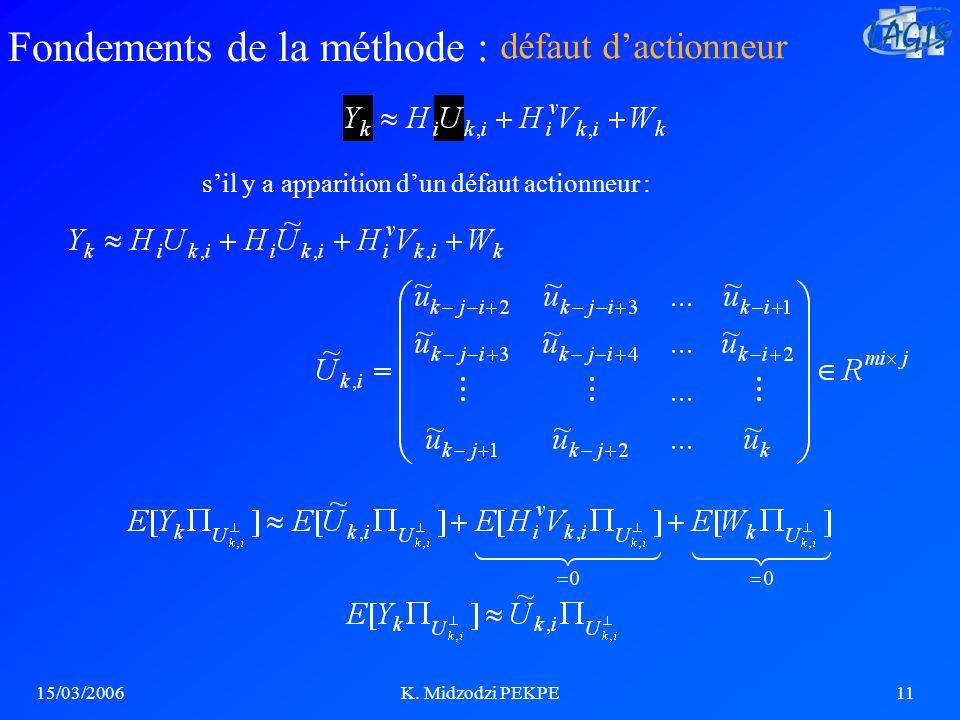 15/03/2006K. Midzodzi PEKPE11 sil y a apparition dun défaut actionneur : défaut dactionneur Fondements de la méthode :