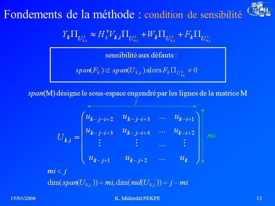 15/03/2006K. Midzodzi PEKPE13 Fondements de la méthode : span(M) désigne le sous-espace engendré par les lignes de la matrice M sensibilité aux défaut