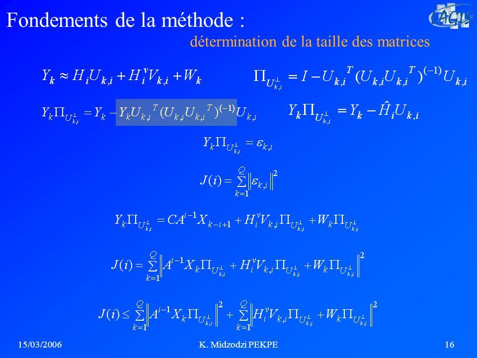 15/03/2006K. Midzodzi PEKPE16 détermination de la taille des matrices Fondements de la méthode :