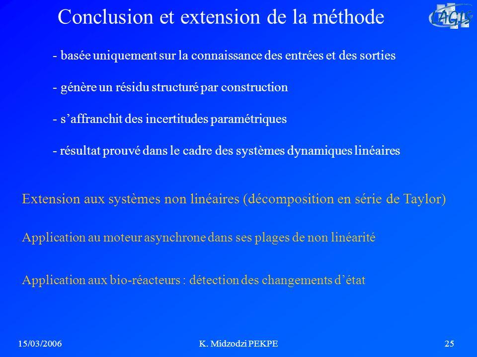 15/03/2006K. Midzodzi PEKPE25 Extension aux systèmes non linéaires (décomposition en série de Taylor) Conclusion et extension de la méthode Applicatio