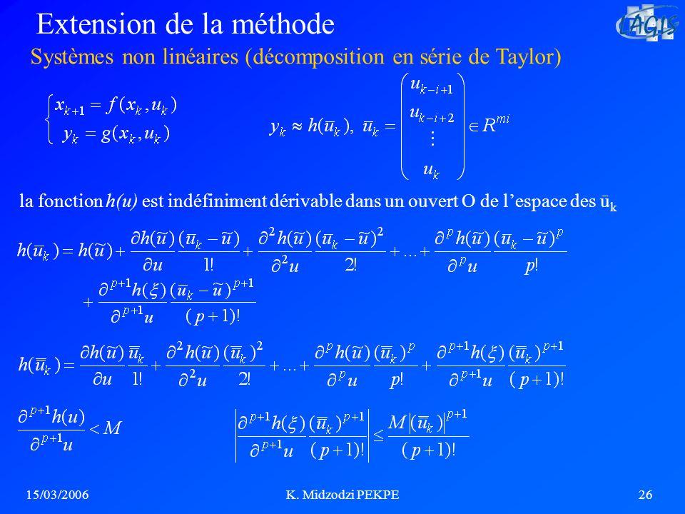 15/03/2006K. Midzodzi PEKPE26 Systèmes non linéaires (décomposition en série de Taylor) Extension de la méthode la fonction h(u) est indéfiniment déri