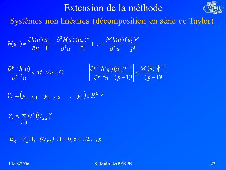 15/03/2006K. Midzodzi PEKPE27 Systèmes non linéaires (décomposition en série de Taylor) Extension de la méthode