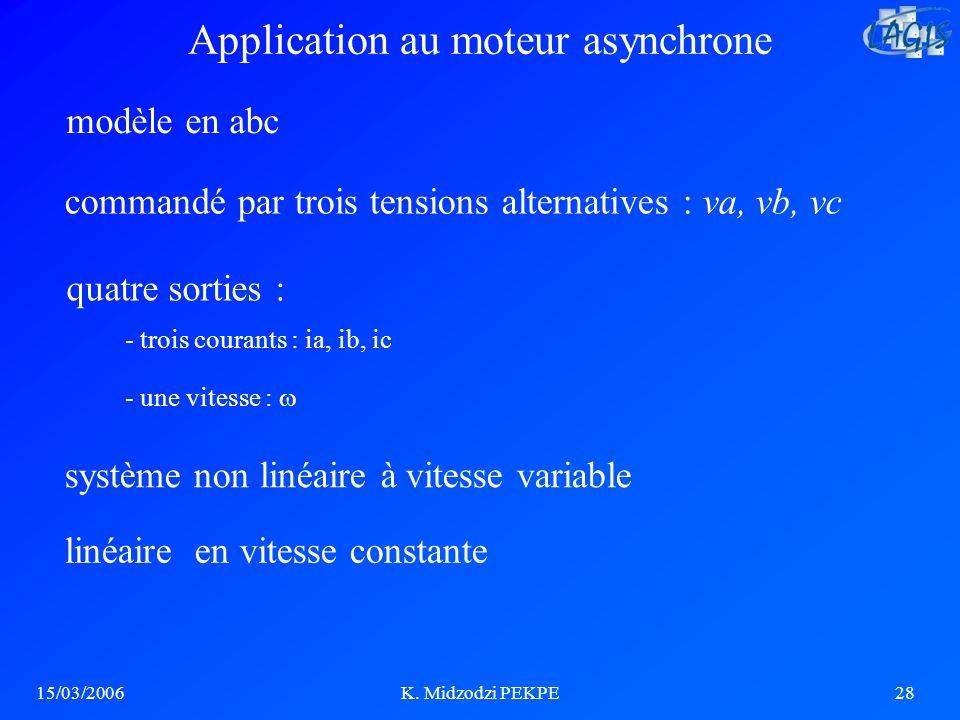 15/03/2006K. Midzodzi PEKPE28 Application au moteur asynchrone commandé par trois tensions alternatives : va, vb, vc système non linéaire à vitesse va