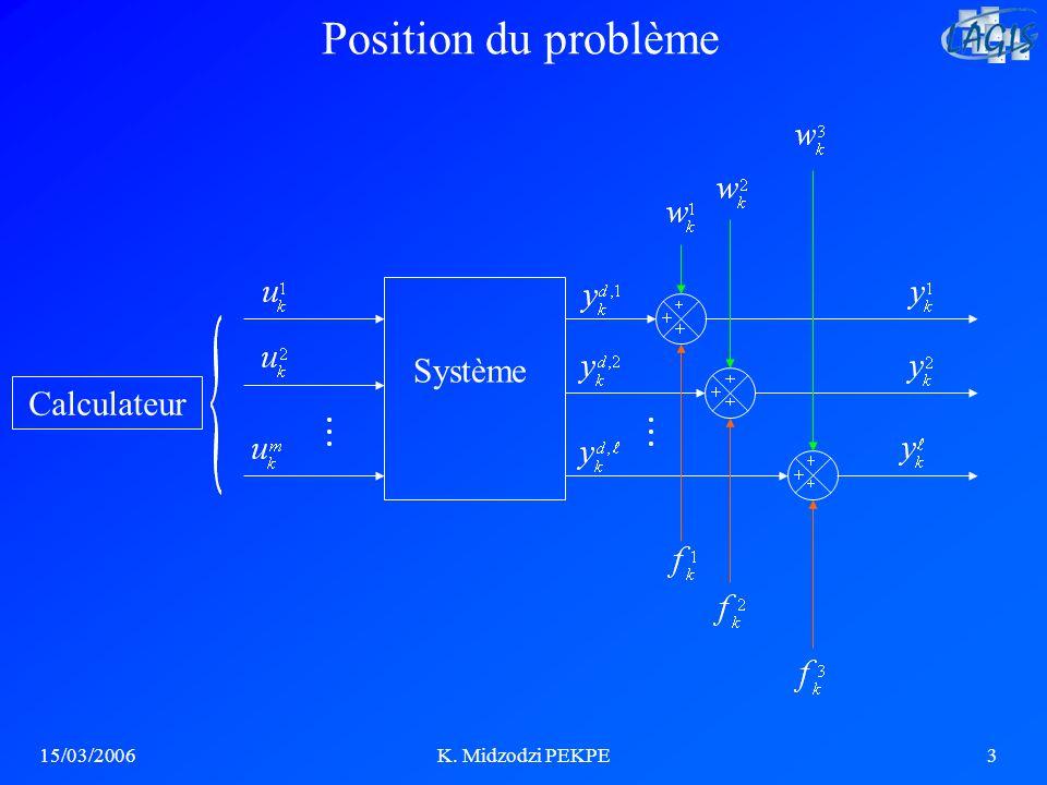 15/03/2006K. Midzodzi PEKPE3 Système Calculateur Position du problème
