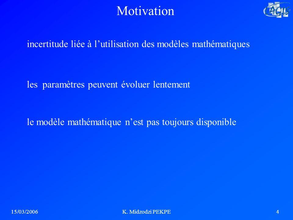 15/03/2006K. Midzodzi PEKPE4 Motivation incertitude liée à lutilisation des modèles mathématiques les paramètres peuvent évoluer lentement le modèle m