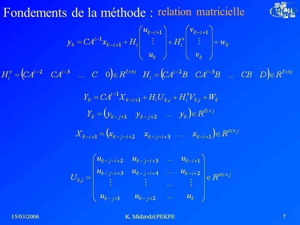 15/03/2006K. Midzodzi PEKPE7 Fondements de la méthode : relation matricielle