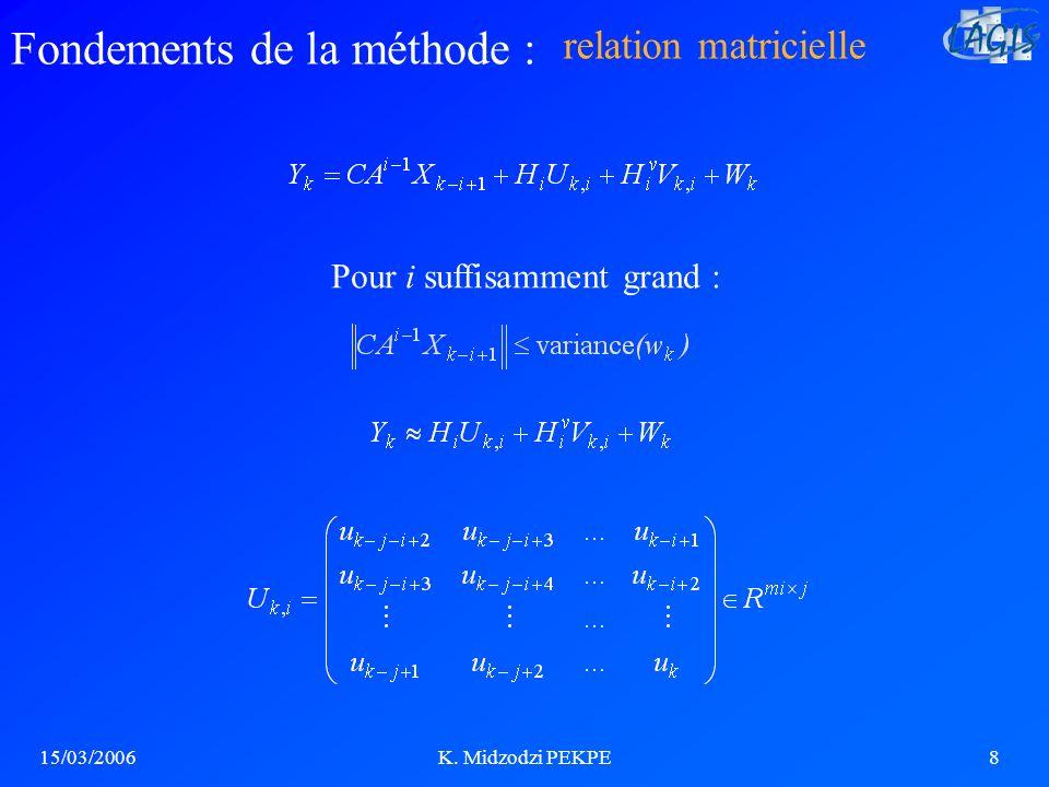 15/03/2006K. Midzodzi PEKPE8 Pour i suffisamment grand : relation matricielle Fondements de la méthode :