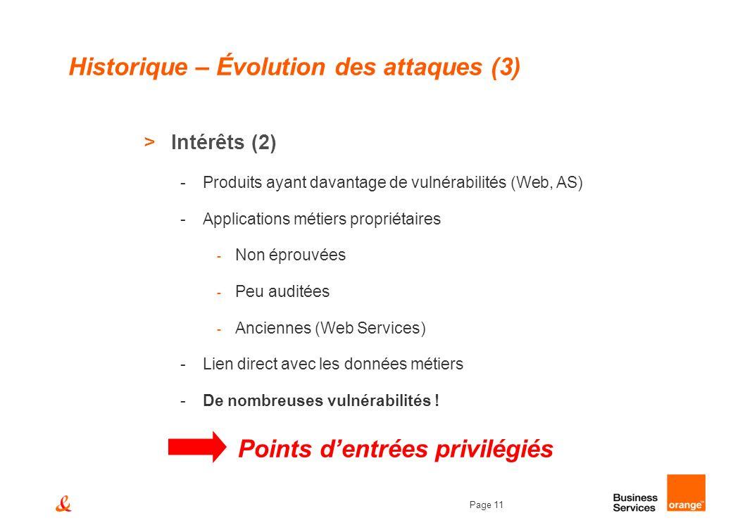 Page 11 Historique – Évolution des attaques (3) >Intérêts (2) -Produits ayant davantage de vulnérabilités (Web, AS) -Applications métiers propriétaire