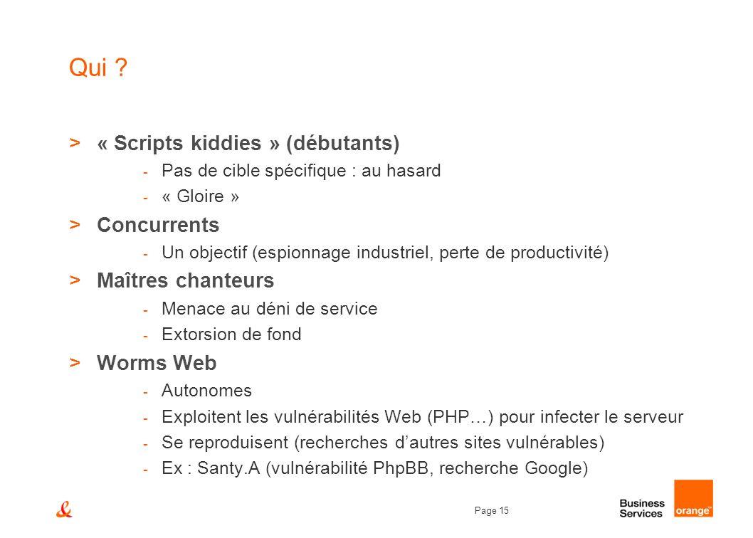 Page 15 Qui ? >« Scripts kiddies » (débutants) - Pas de cible spécifique : au hasard - « Gloire » >Concurrents - Un objectif (espionnage industriel, p