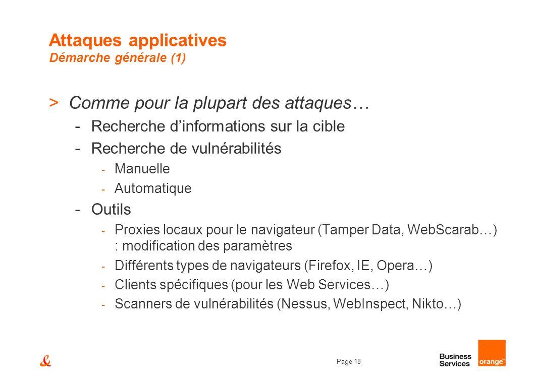 Page 18 Attaques applicatives Démarche générale (1) >Comme pour la plupart des attaques… -Recherche dinformations sur la cible -Recherche de vulnérabi