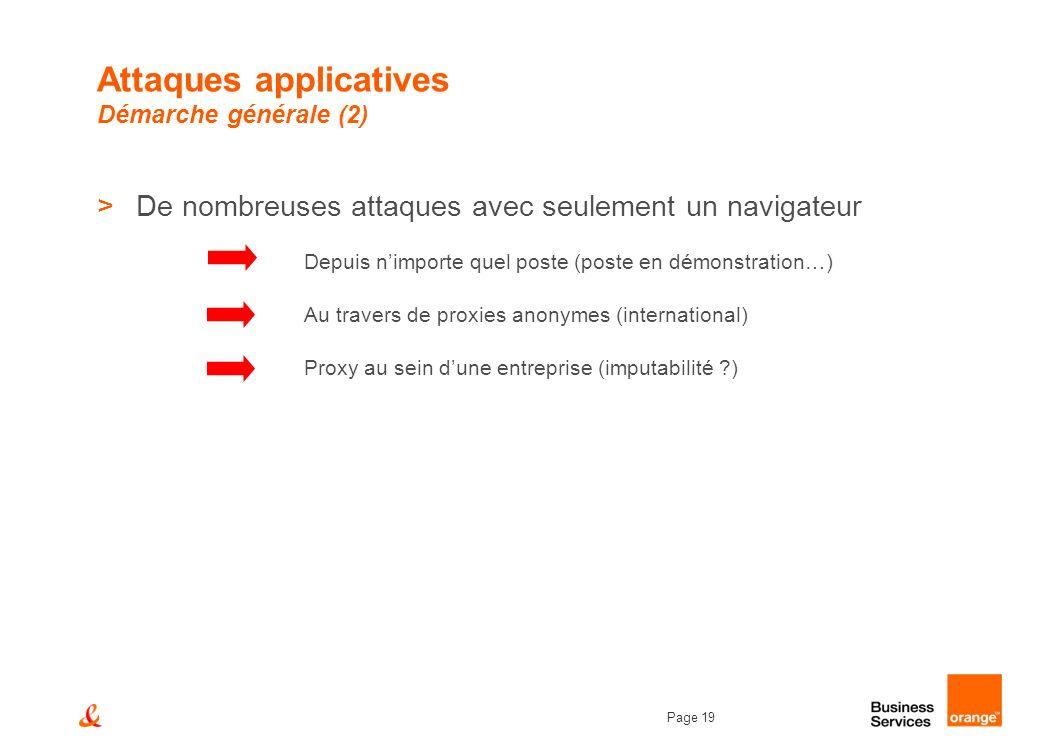 Page 19 Attaques applicatives Démarche générale (2) >De nombreuses attaques avec seulement un navigateur Depuis nimporte quel poste (poste en démonstr