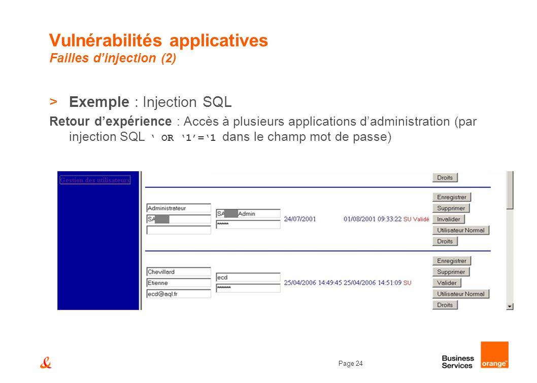 Page 24 Vulnérabilités applicatives Failles dinjection (2) >Exemple : Injection SQL Retour dexpérience : Accès à plusieurs applications dadministratio
