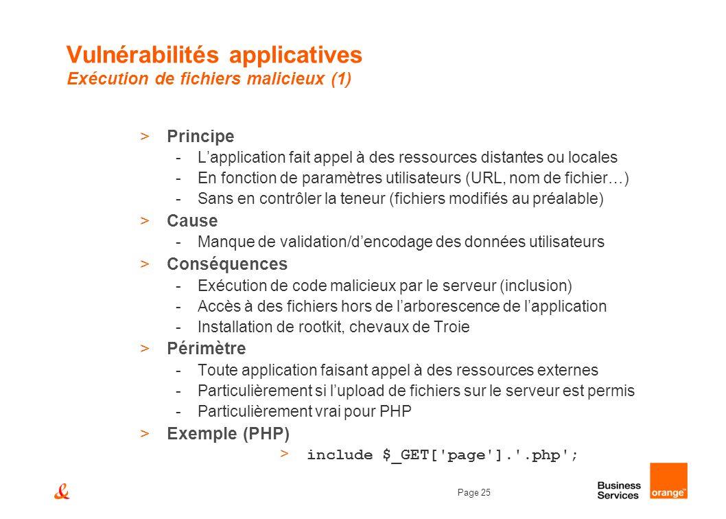 Page 25 Vulnérabilités applicatives Exécution de fichiers malicieux (1) >Principe -Lapplication fait appel à des ressources distantes ou locales -En f