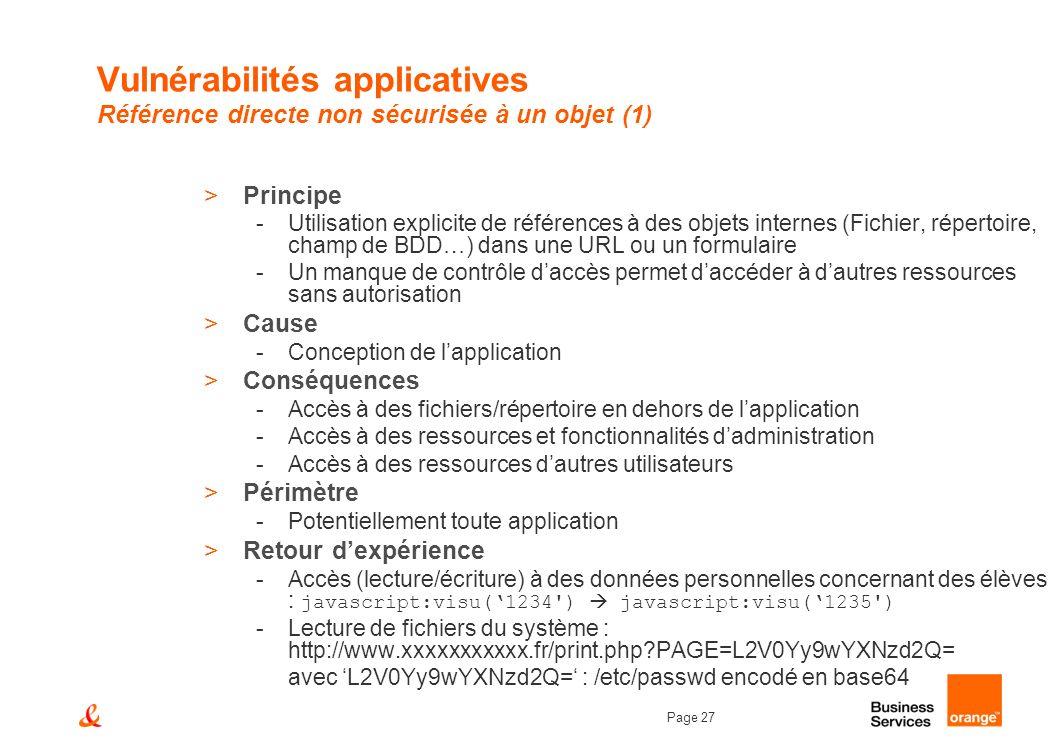 Page 27 Vulnérabilités applicatives Référence directe non sécurisée à un objet (1) >Principe -Utilisation explicite de références à des objets interne