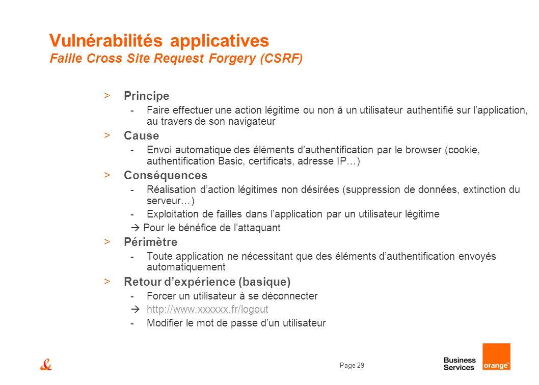 Page 29 Vulnérabilités applicatives Faille Cross Site Request Forgery (CSRF) >Principe -Faire effectuer une action légitime ou non à un utilisateur au